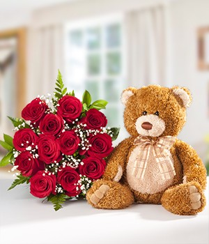 Dozen Roses and Bear