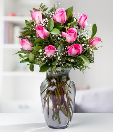 Docena de Rosas Rosadas en Florero