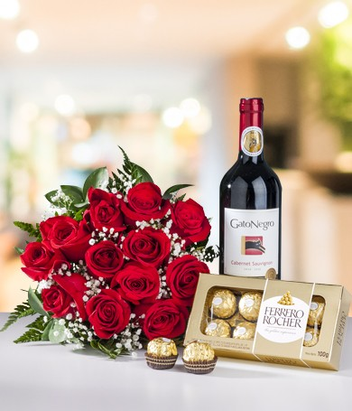 Roses Chocolates and Wine