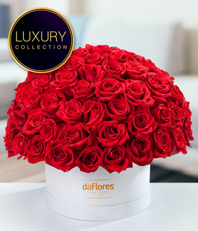 Premium Red Roses in Hatbox
