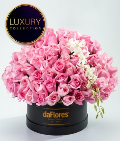 Caja de Lujo con Rosas Rosadas