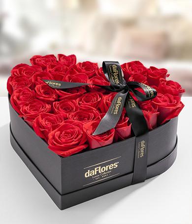 Rosas Rojas en Caja Corazón