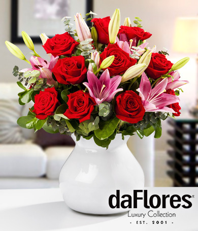 Roses and Lilies in White Vase
