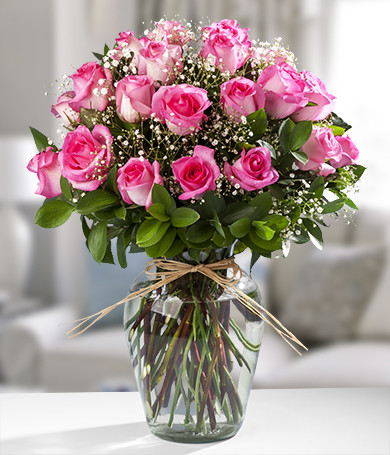 Three Dozen Pink Roses in a Glass Vase