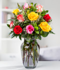 12 Assorted Roses in Vase